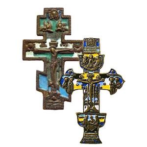 Старинные медные кресты-распятия