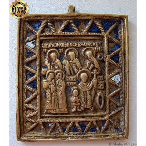 1.105 Икона медная Святые Кирик и Иулитта с избранными святыми,