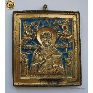 1.111 Икона медная Святой Николай Чудотворец,золочение,19в.