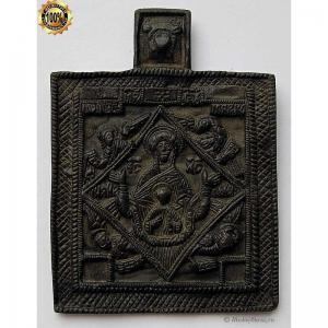 1.138 Икона медная Богоматерь Знамение с символами Евангелистов,