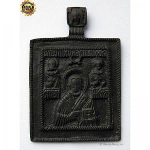 1.150 Медная икона Николай Чудотворец с святыми,нач.18в.