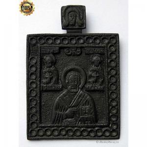 1.151 Медная икона Николай Чудотворец с святыми,18в.