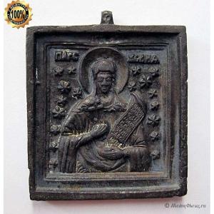 1.36 Икона медная вершковая Великомученица Параскева Пятница,19в
