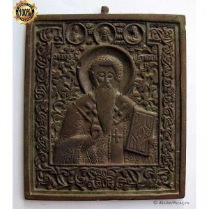 1.82 Святой Антипа Пергамский,19в. медная икона