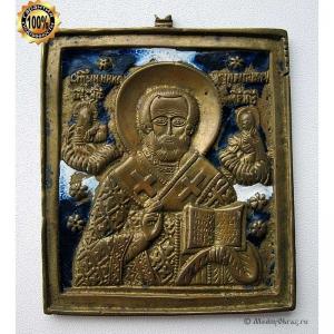1.84 Медная икона Святой Николай Чудотворец, 19в.