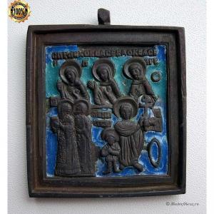 1.86 Икона медная Кирик и Иулитта,избр.святые, две эмали,19в.