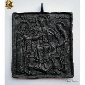 1.95 Икона медная Деисус, 18в.