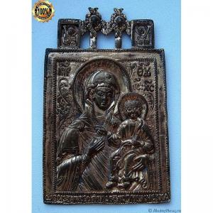 1.99 Икона медная Богоматерь Смоленская,золочение,18в.