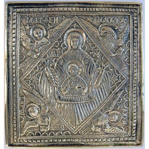 2.1.3 Икона медная Богоматерь Знамение с символами евангелистов