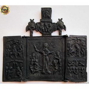 2.115 Складень бронзовый Богоматерь Всех Скорбящих Радость,18-19