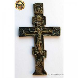 3.10 Малый медный киотный крест Распятие Христово. 18-19вв.