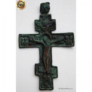 3.29 Медный киотный крест Распятие Христово, 18в.