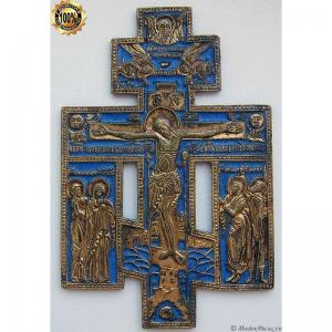 3.36 Киотный медный крест Распятие Христово,золочение,клеймо МИХ
