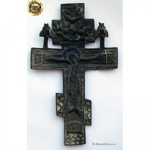3.38 Медный крест Распятие Христово с херувимами, 19в.