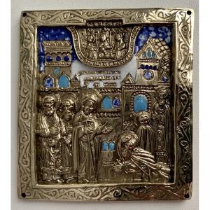 3.3 Икона медная Явление Богородицы Преподобному Сергию