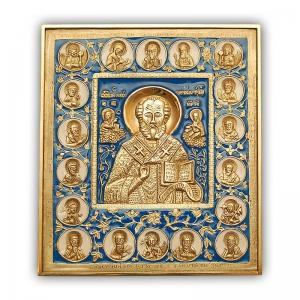 3.41 Икона медная Николай Чудотворец,с избранными святыми