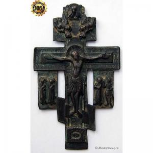 3.43 Медный киотный крест Распятие Христово,нечастый 18в.