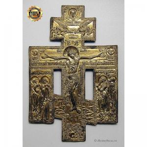 3.51 Медный крест Распятие Христово,золочение,19в.