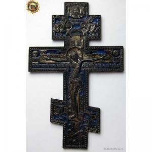 3.61 Медный киотный крест Распятие Христово 19в.,золочение