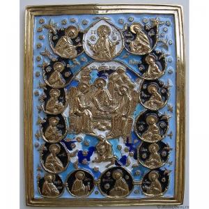 6.36 Икона медная Святая Троица с избранными святыми