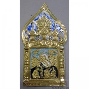 6.71 Икона медная Рождество Христово,с куполообразным навершием