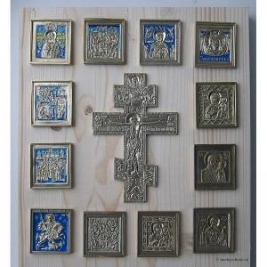 Современные врезные бронзовые иконы (ставротека-иконостас) №3