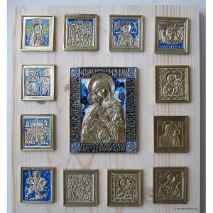 Современные врезные бронзовые иконы (ставротека-иконостас) №6