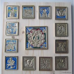 Современные врезные бронзовые иконы (ставротека-иконостас) №10