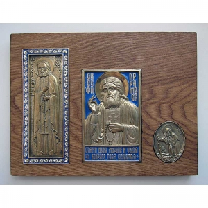 Врезка с медными иконами Преподобного Серафима Саровского