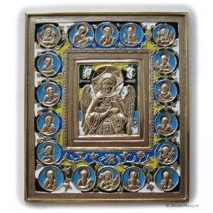 1.32 Спас Благое Молчание, с избранными святыми 6 эмалей