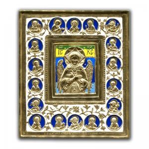 1.34 Икона медная Спас Благое Молчание с избранными святыми