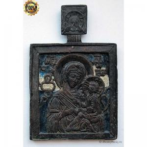 1.108 Икона медная Богоматерь Тихвинская,18-19вв.