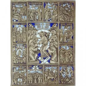 1.10 Медная икона Воскресение Христово c праздниками