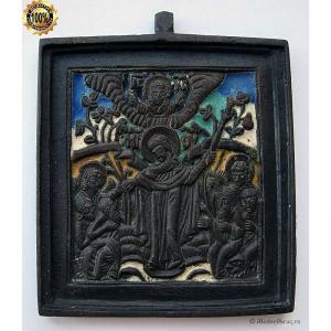 1.113 Икона медная Всех Скорбящих Радость,5эмалей,19в.