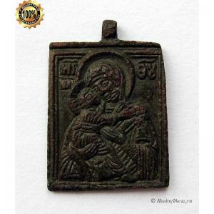 1.118 Икона медная малышка Богоматерь Владимирская, 19в.