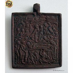 1.125 Икона медная Успение Богородицы,черная эмаль, 18в.