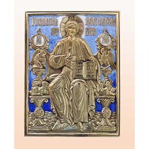 """1.16 Икона медная  """"Господь Вседержитель на троне"""""""