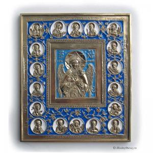 1.36 Икона медная Спас Благое Молчание с избранными святыми