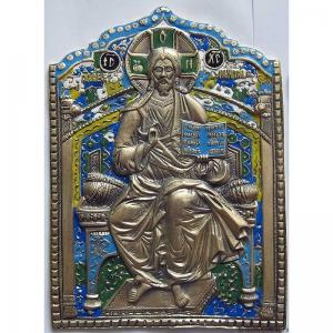 1.38 Большая медная икона Господь Вседержитель на троне