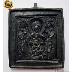 1.41 Медная икона Богоматерь Знамение, 19в.