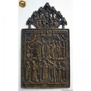 1.58 Бронзовая икона Покров Пресвятой Богородицы,19в.Коллекционн