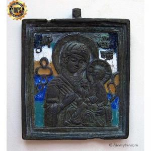 1.77 Икона медная Богоматерь Тихвинская (5эмалей),19в.