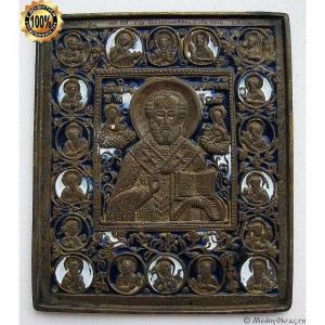 1.83 Икона медная Николай Чудотворец с избранными святыми, 19в.
