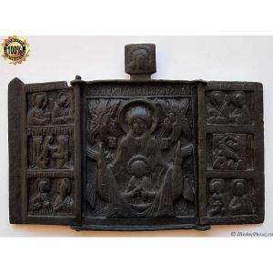 2.117 Складень бронзовый Богоматерь Знамение (Оранта),кон.17-нач