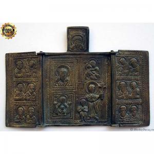 2.123 Складень бронзовый Кирик и Иулитта.Избранные иконы,19в.