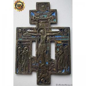 3.23 Старинный медный крест Распятие Христово, 6эмалей, 19в.
