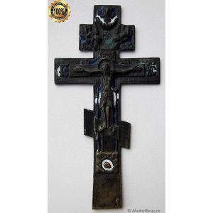 3.25 Медный крест Распятие Христово, с молитвой кресту на оборот
