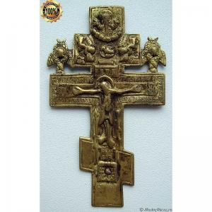 3.26 Медный крест Распятие Христово, золочение, очень тонкий. 18