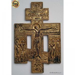 3.30 Медный киотный крест Распятие Христово,золочение,19в.