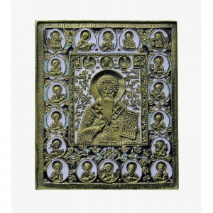 3.37 Икона медная Антипа Пергамский с избранными святыми